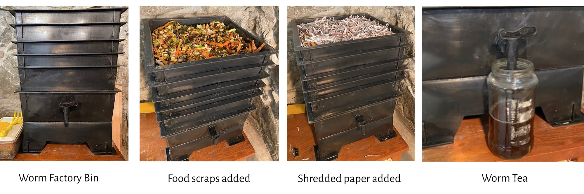 Worm factory bin, food scraps added, shredded paper added, and worm tea