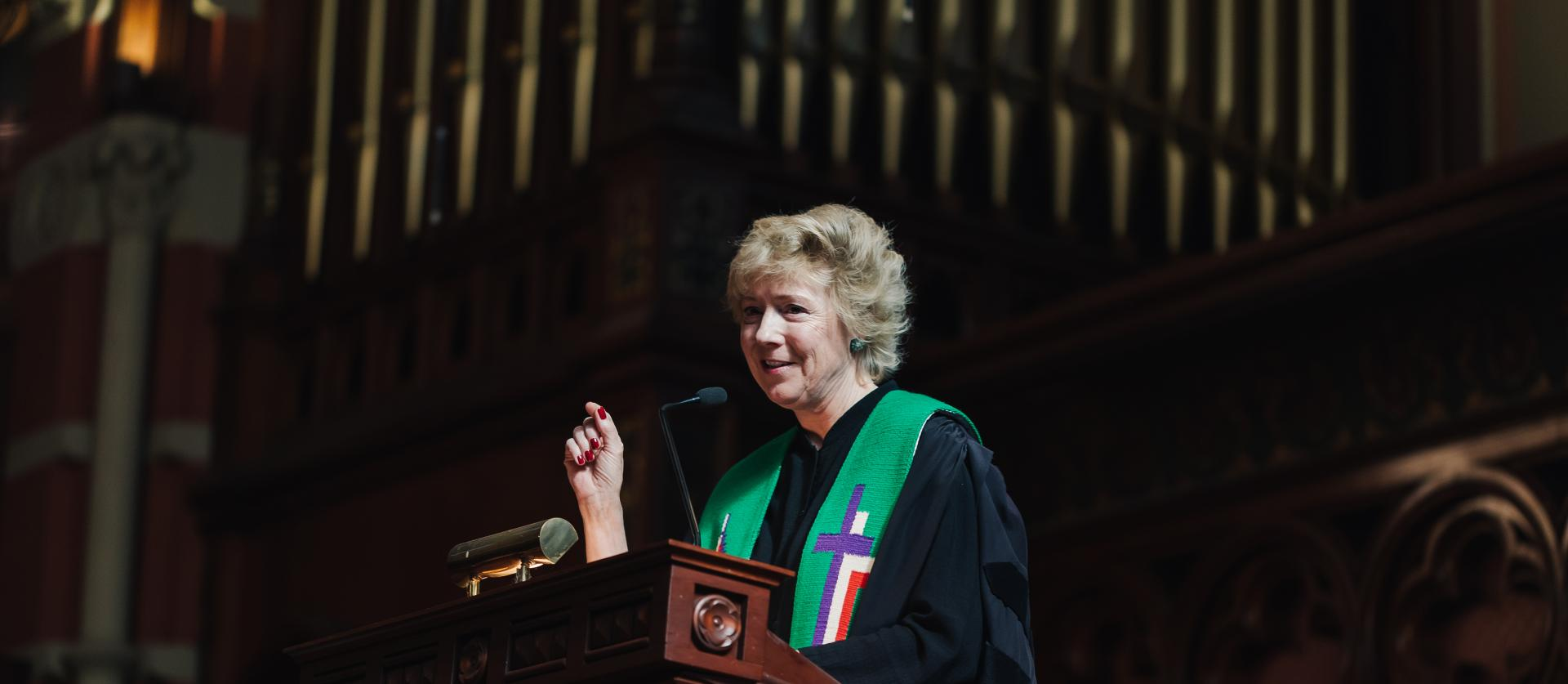 Rev. Nancy Taylor preaches from the pulpit in Old South's sanctuary