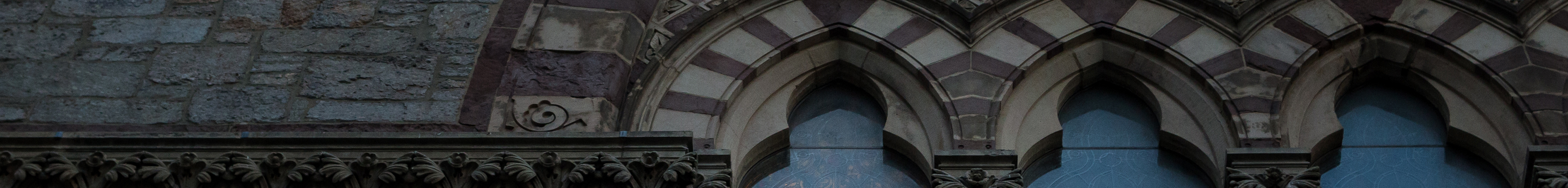 Architectural detail of window arches on Old South Church in Boston